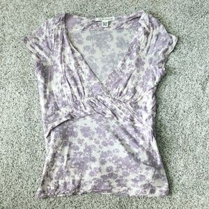 Banana Republic Light Purple and White Floral Top